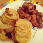 carmelized onion & bacon potatoes with grilled wings