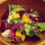 mixed green salad with golden & red beets