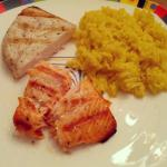 Farmer's market swordfish & salmon with saffron rice